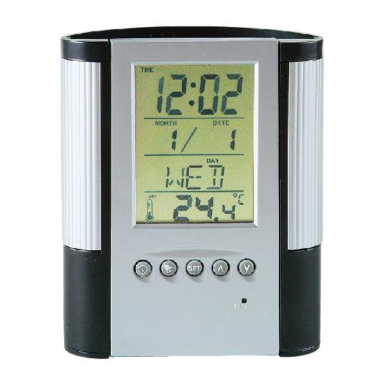 マルチクロック付きペンスタンド 多機能時計