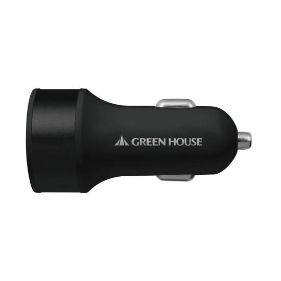 【GREEN HOUSE】USBシガーソケット充電アダプタ 2ポート【4.2A】