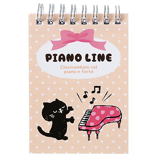 ピアノライン リングメモ帳A7(ねこ)