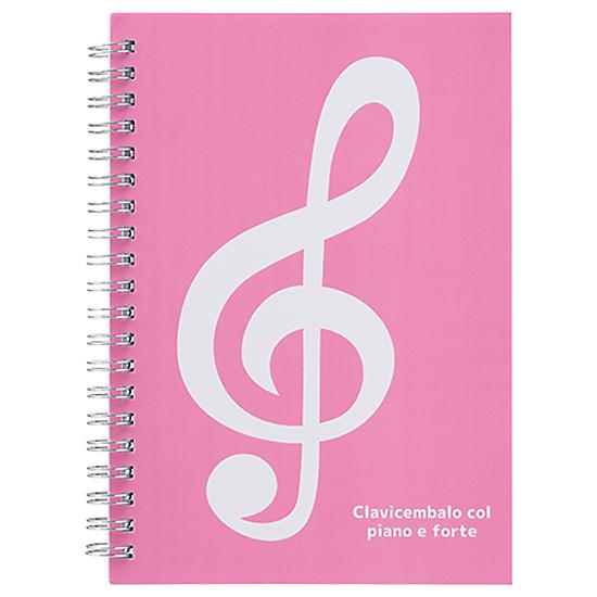 ミュージックライン リングノートB6(ト音記号) ピンク